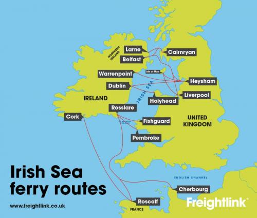 Irish Sea route map