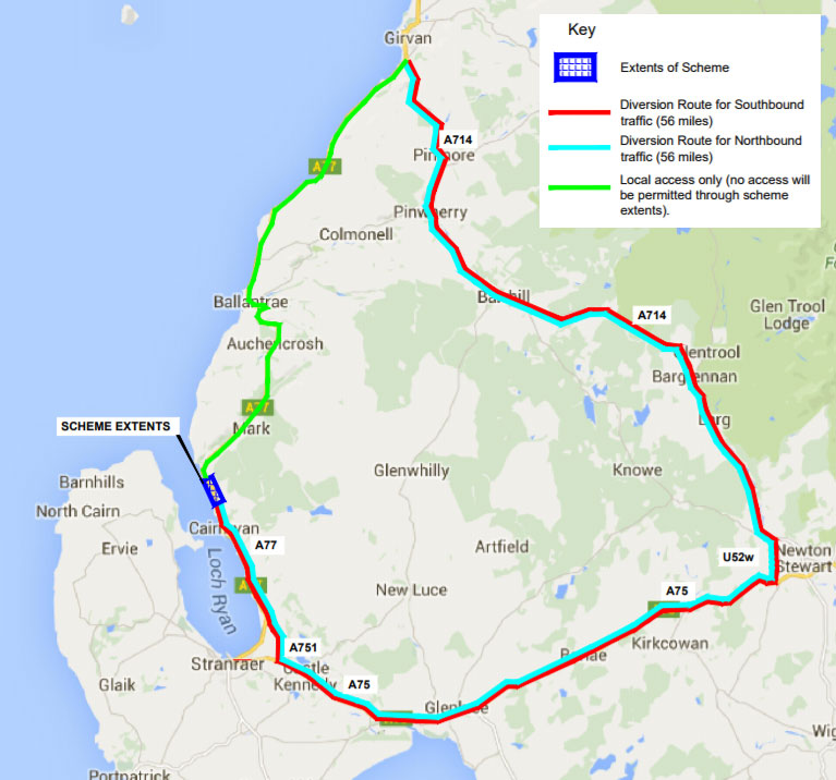 stena line cairnryan diversion route sept 2017