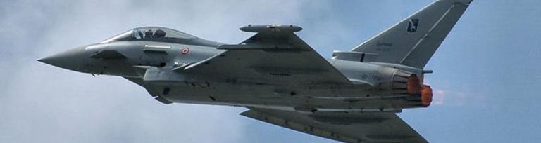 The Eurofighter Typhoon zaprojektowany i wykonany przez Aermacchi, Airbus Group oraz BAE Systems